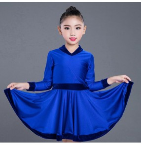 Kids competition latin dress for girl neon green royal blue red black long sleeves velvet ballroom rumba salsa chacha dance dresses